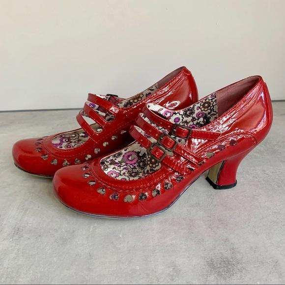 Hush Puppies, Red Patent Freya Retro Court Shoe
